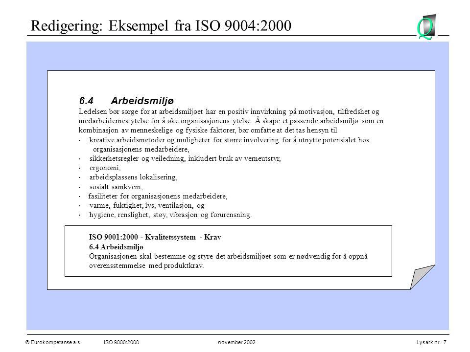Redigering: Eksempel fra ISO 9004:2000