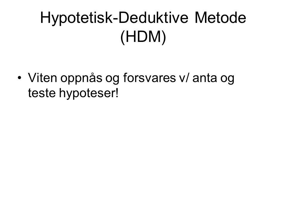 Hypotetisk-Deduktive Metode (HDM)