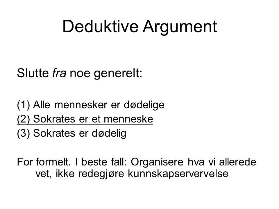 Deduktive Argument Slutte fra noe generelt: