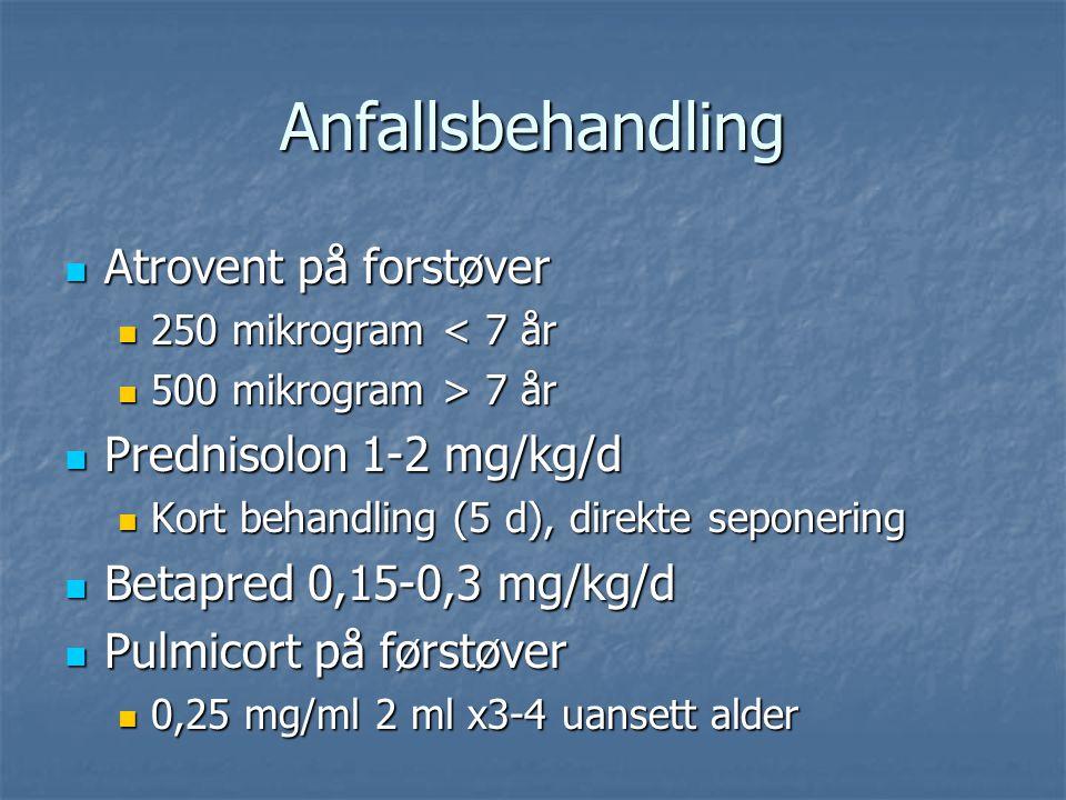 Anfallsbehandling Atrovent på forstøver Prednisolon 1-2 mg/kg/d