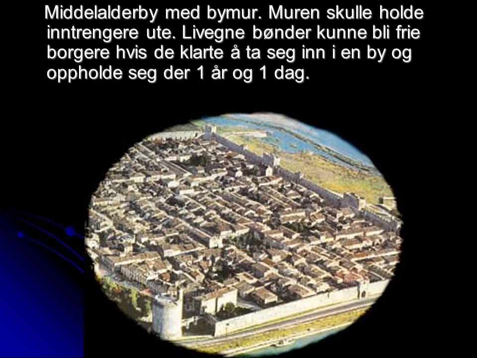 Middelalderby med bymur. Muren skulle holde inntrengere ute