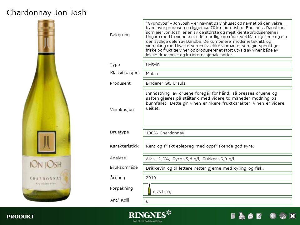 Chardonnay Jon Josh PRODUKT Bakgrunn Type Hvitvin Klassifikasjon Matra