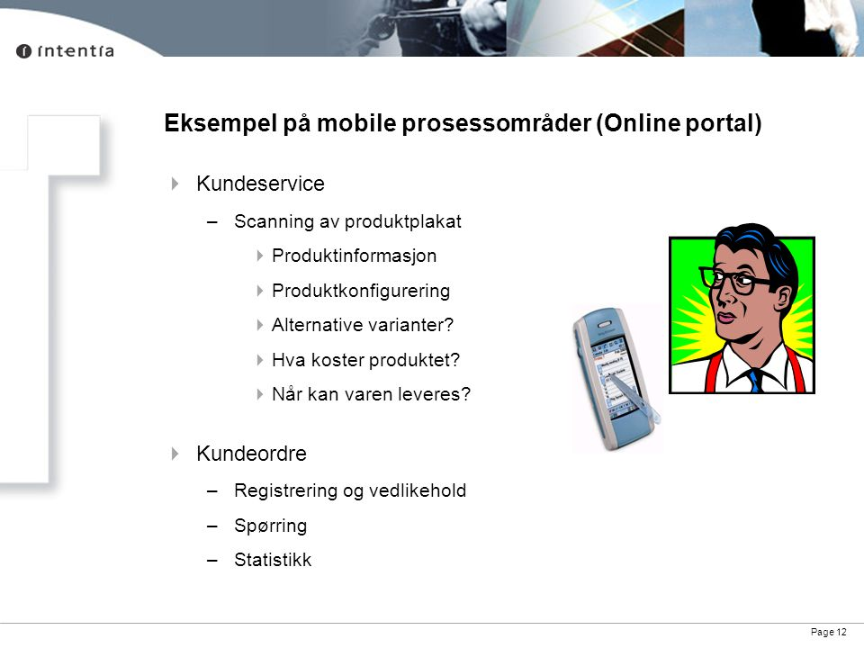 Eksempel på mobile prosessområder (Online portal)