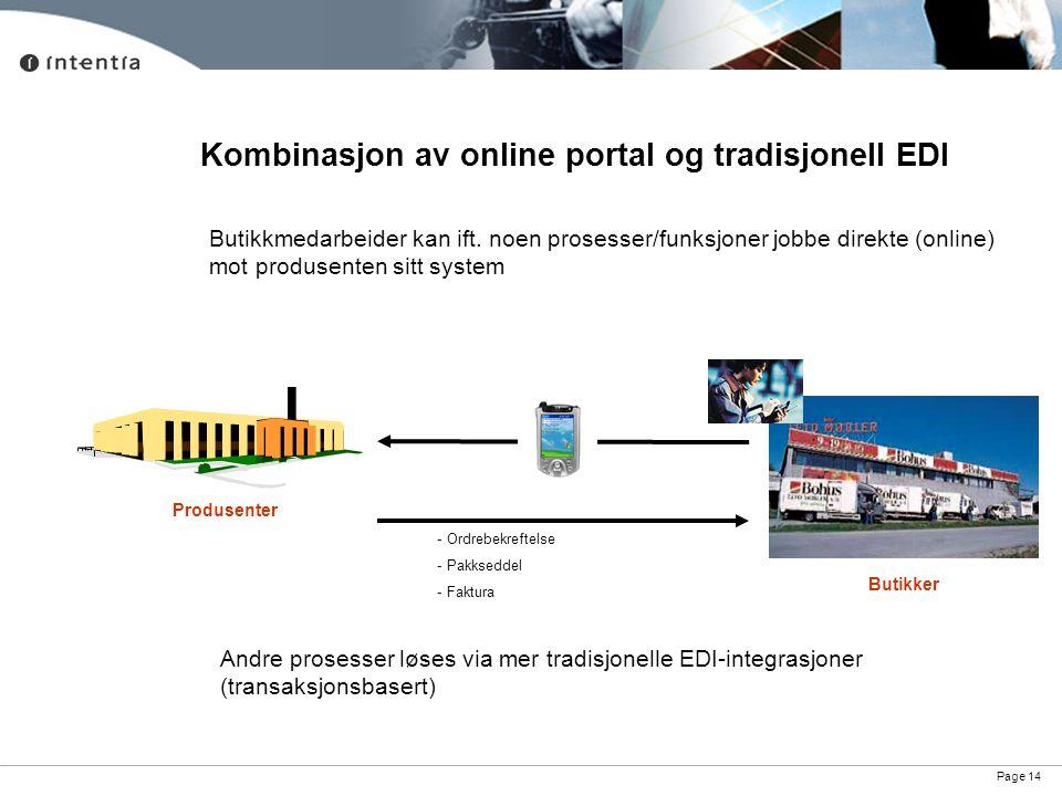 Kombinasjon av online portal og tradisjonell EDI