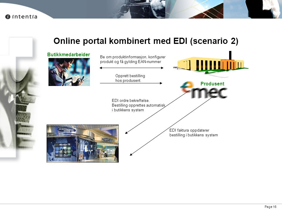 Online portal kombinert med EDI (scenario 2)