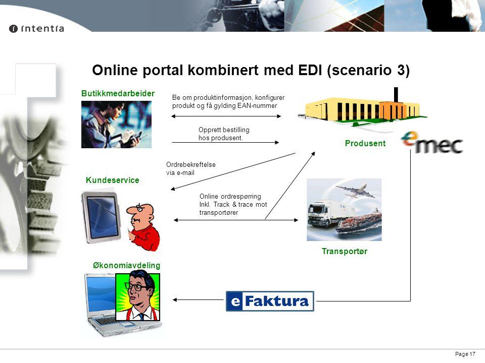 Online portal kombinert med EDI (scenario 3)