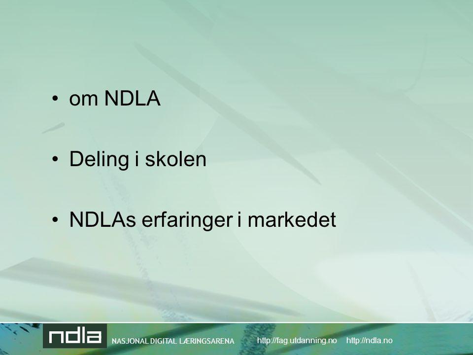 om NDLA Deling i skolen NDLAs erfaringer i markedet