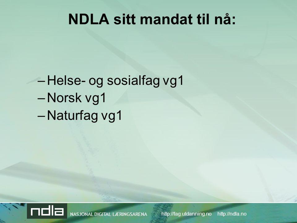 NDLA sitt mandat til nå: