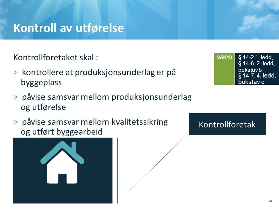 Kontroll av utførelse Kontrollforetaket skal :