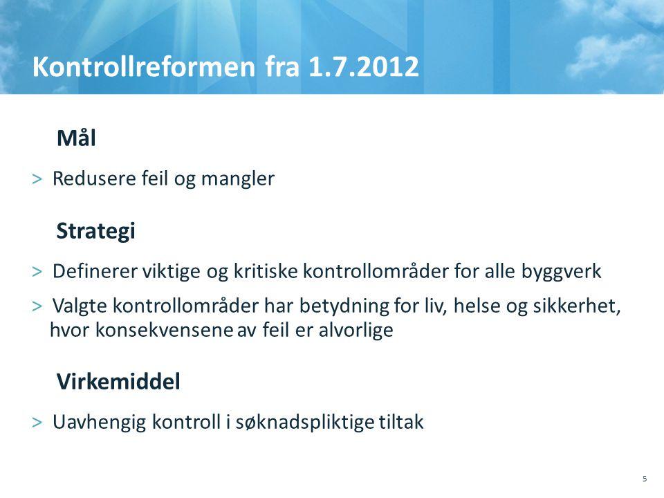 Kontrollreformen fra 1.7.2012 Mål Strategi Virkemiddel