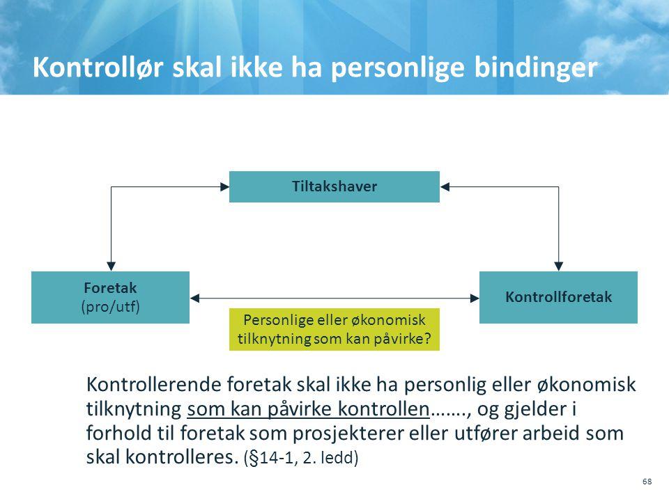Kontrollør skal ikke ha personlige bindinger