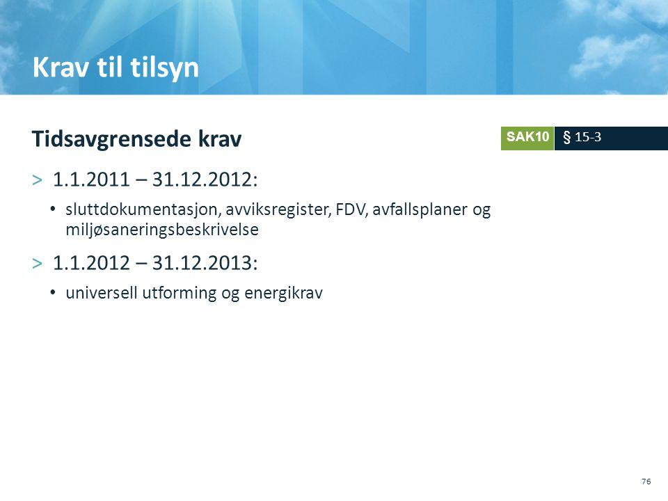 Krav til tilsyn Tidsavgrensede krav 1.1.2011 – 31.12.2012: