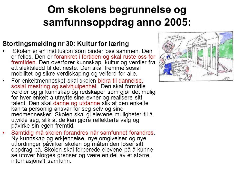 Om skolens begrunnelse og samfunnsoppdrag anno 2005: