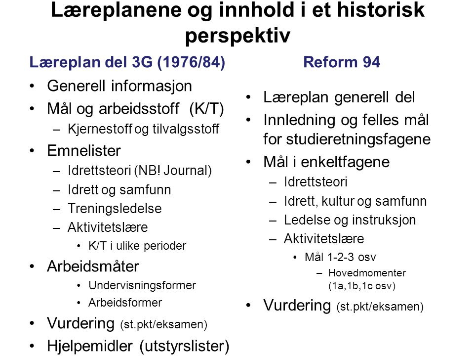 Læreplanene og innhold i et historisk perspektiv