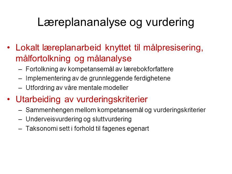Læreplananalyse og vurdering