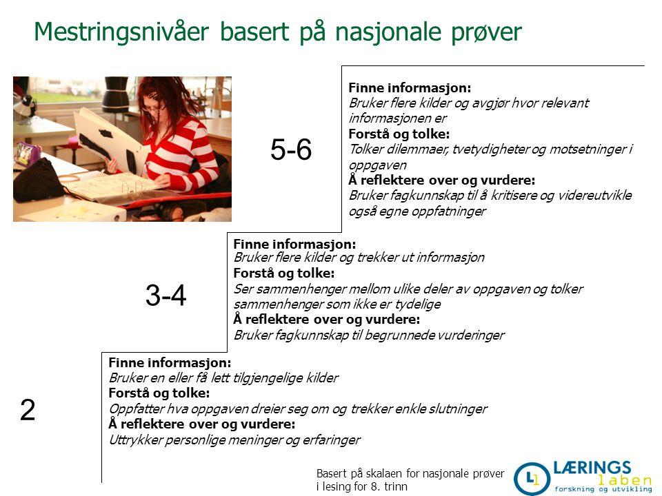 5-6 3-4 2 Mestringsnivåer basert på nasjonale prøver