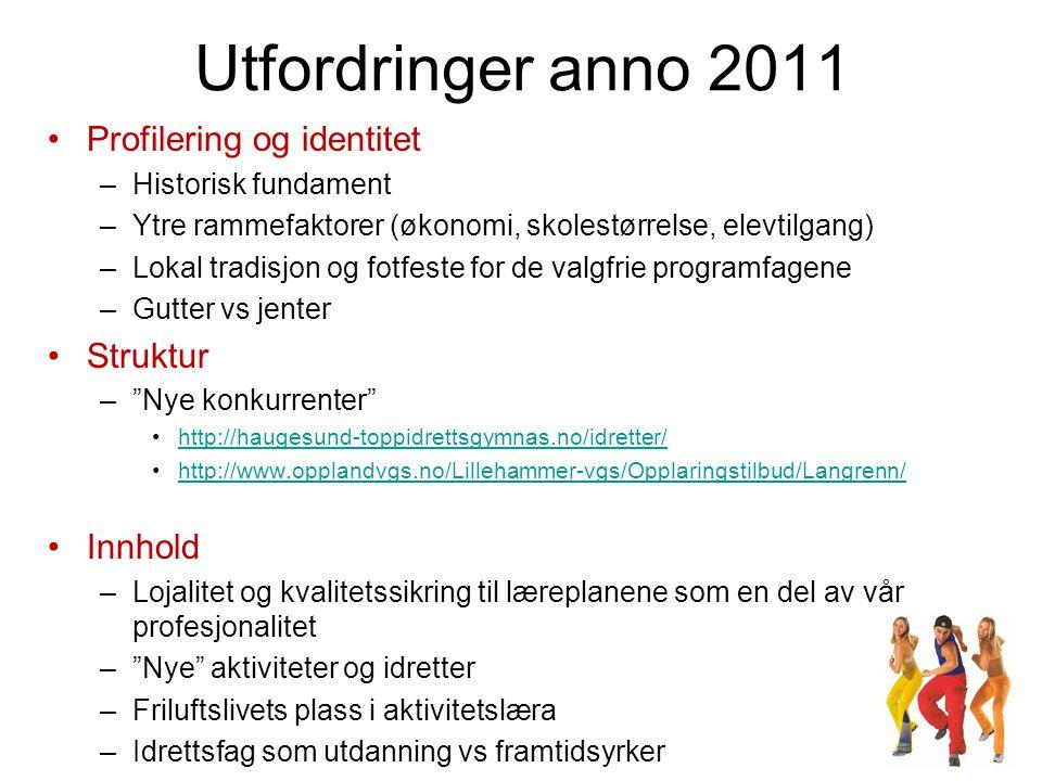 Utfordringer anno 2011 Profilering og identitet Struktur Innhold