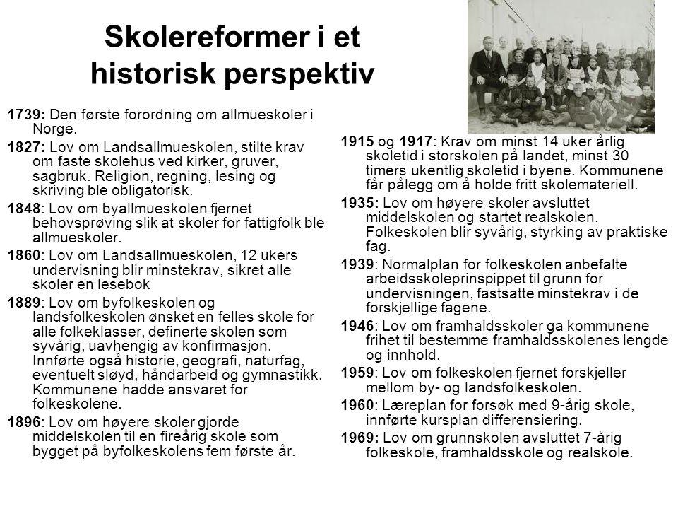 Skolereformer i et historisk perspektiv