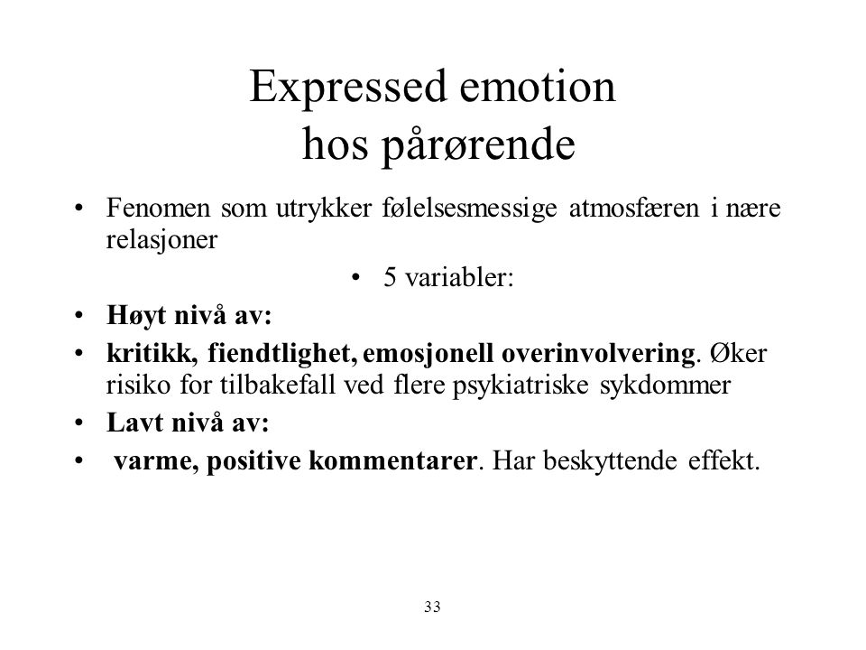 Expressed emotion hos pårørende