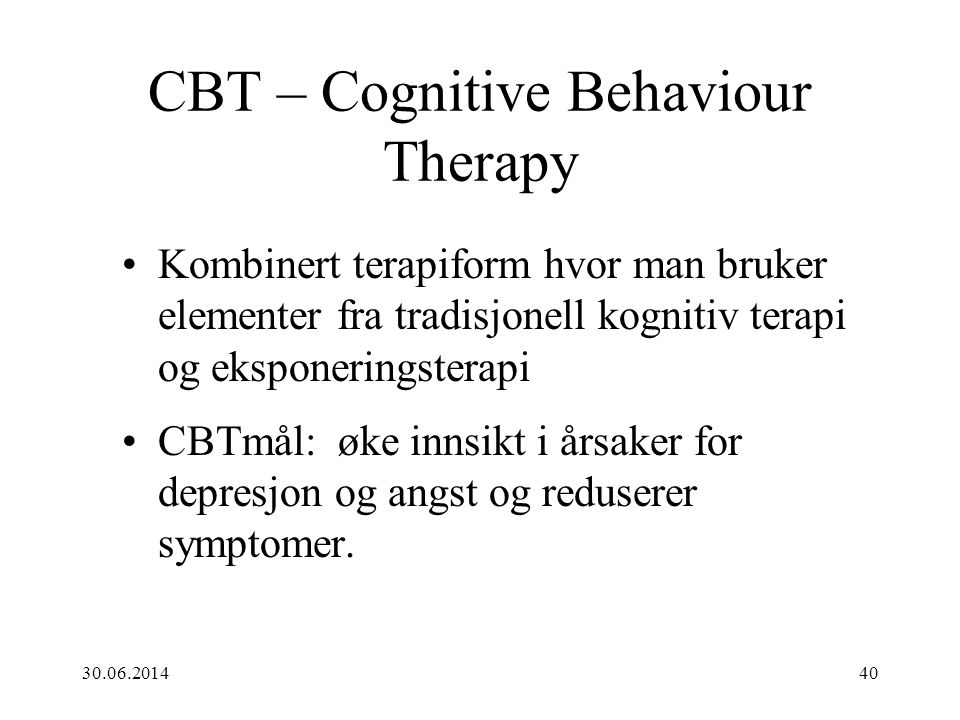 CBT – Cognitive Behaviour Therapy