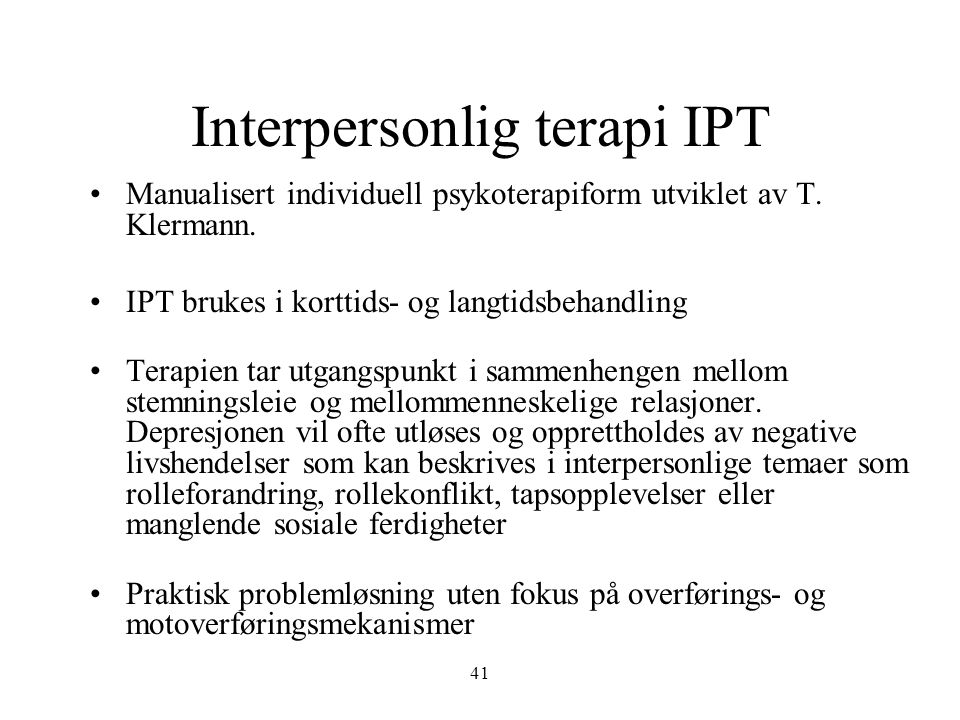 Interpersonlig terapi IPT