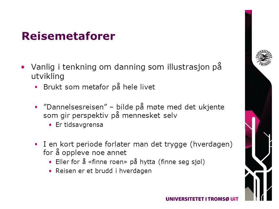 Reisemetaforer Vanlig i tenkning om danning som illustrasjon på utvikling. Brukt som metafor på hele livet.