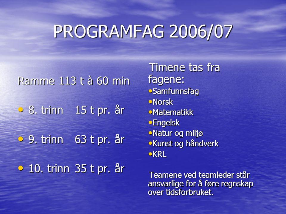 PROGRAMFAG 2006/07 Timene tas fra fagene: Ramme 113 t à 60 min