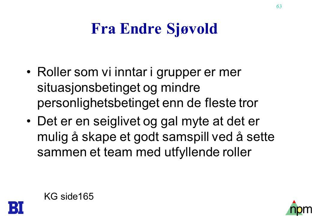 Fra Endre Sjøvold Roller som vi inntar i grupper er mer situasjonsbetinget og mindre personlighetsbetinget enn de fleste tror.