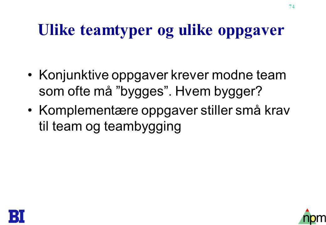 Ulike teamtyper og ulike oppgaver