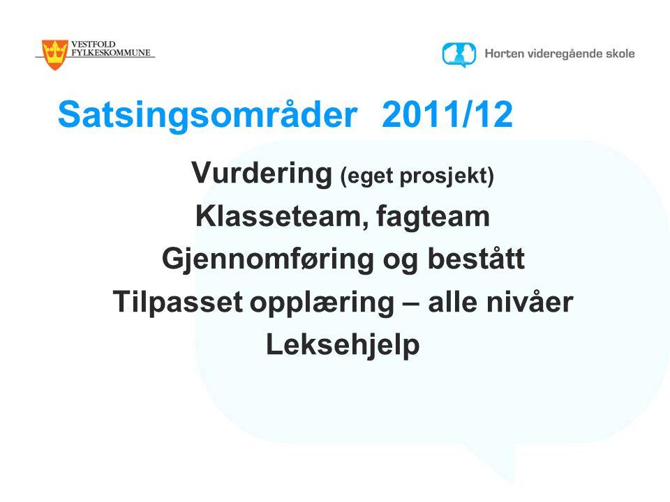 Satsingsområder 2011/12 Vurdering (eget prosjekt) Klasseteam, fagteam