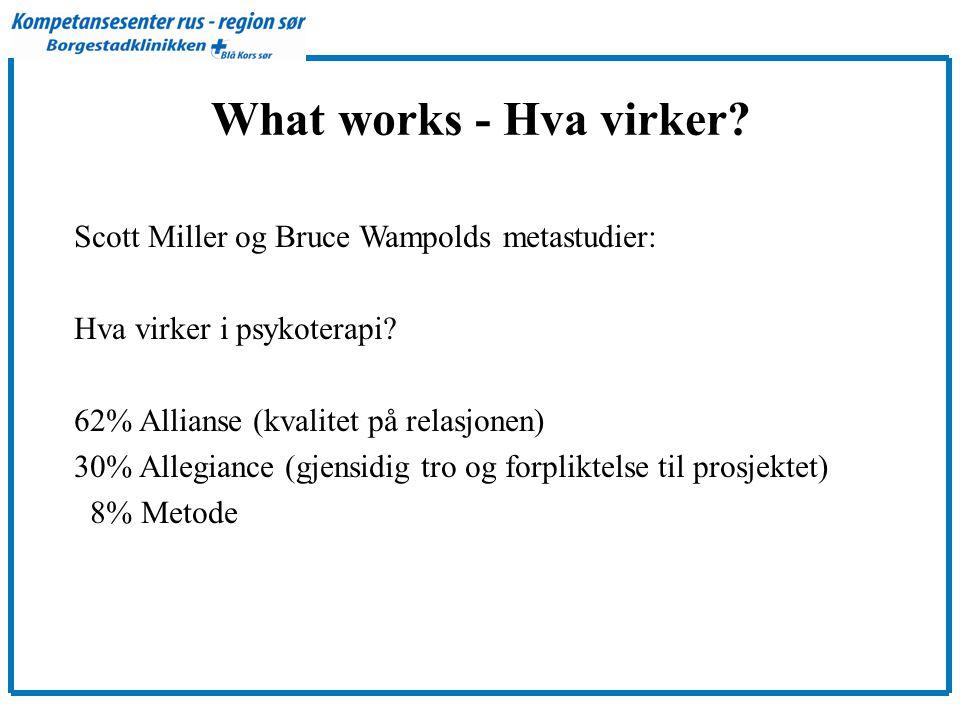 What works - Hva virker Scott Miller og Bruce Wampolds metastudier: