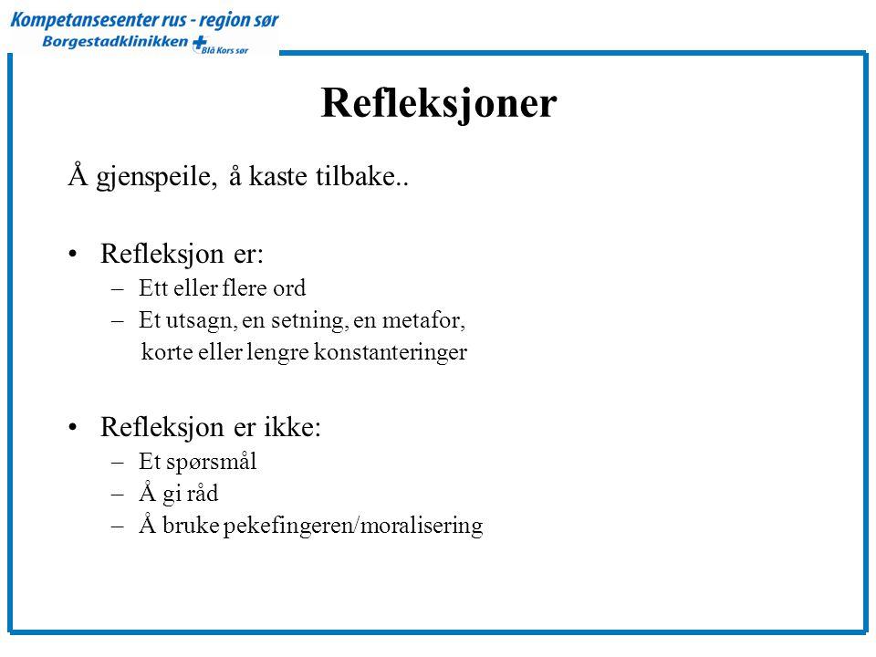 Refleksjoner Å gjenspeile, å kaste tilbake.. Refleksjon er:
