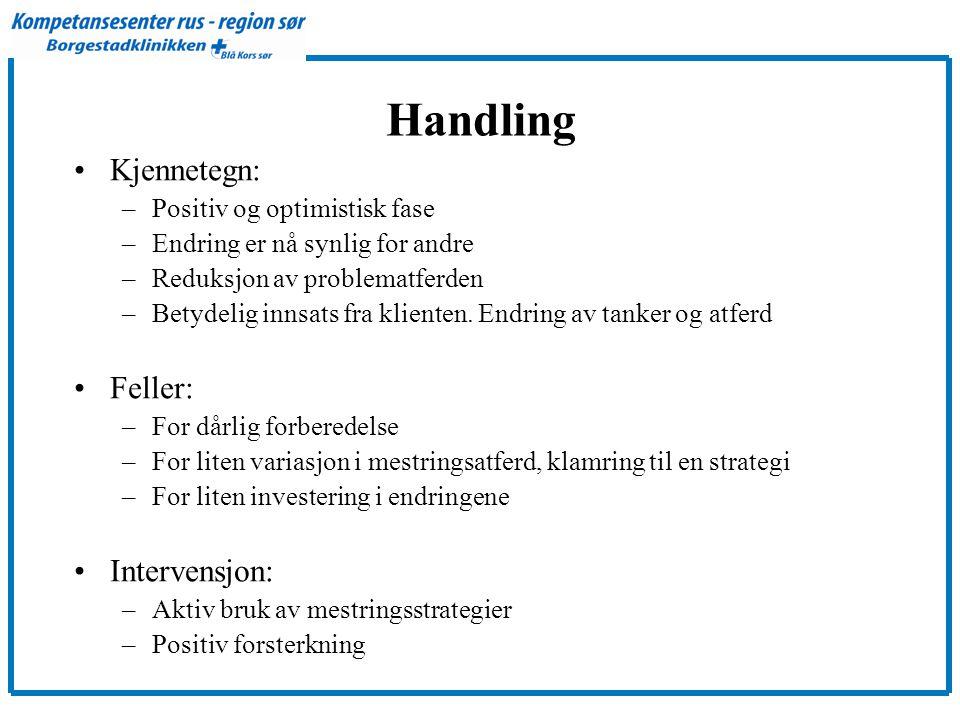 Handling Kjennetegn: Feller: Intervensjon: Positiv og optimistisk fase