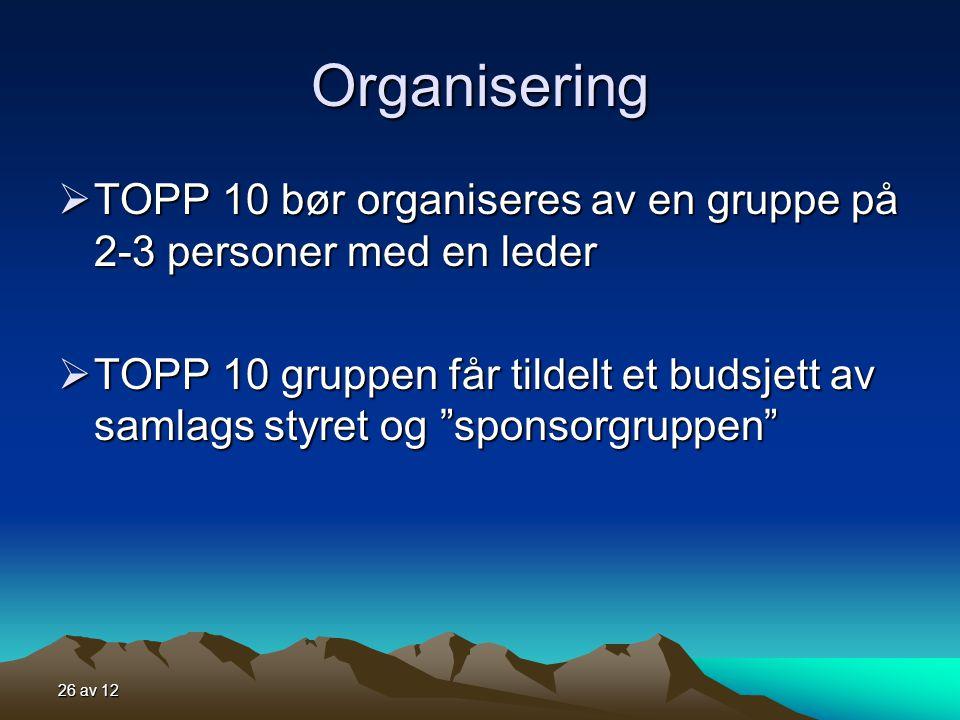 Organisering TOPP 10 bør organiseres av en gruppe på 2-3 personer med en leder.