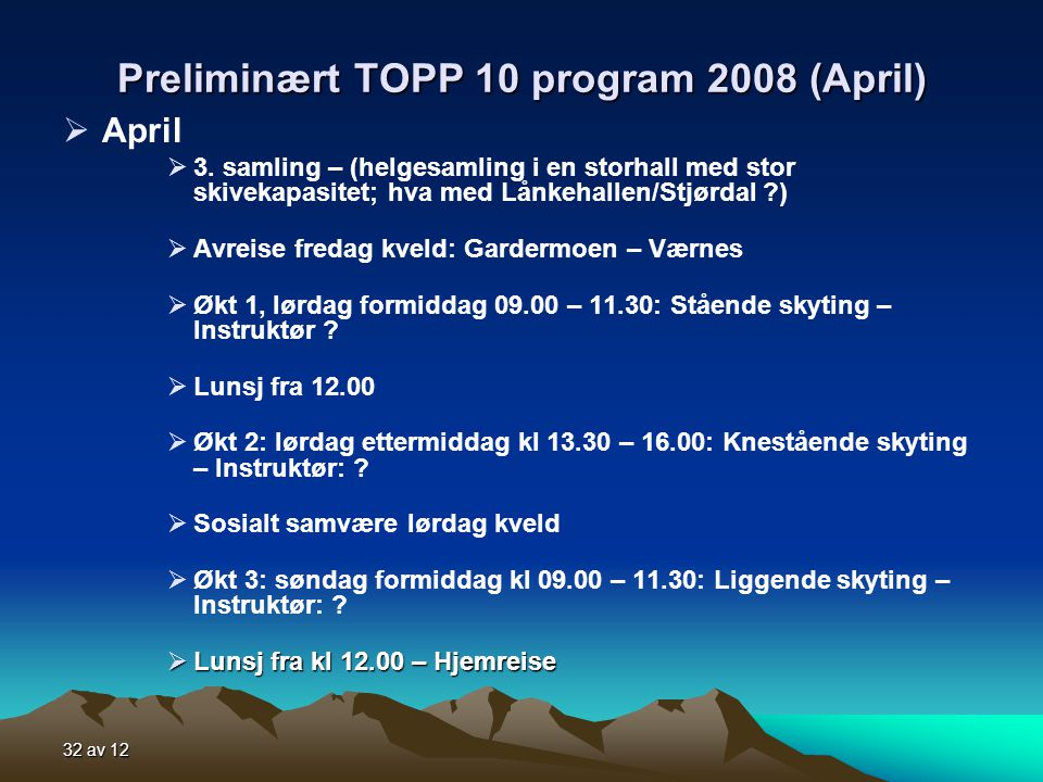 Preliminært TOPP 10 program 2008 (April)