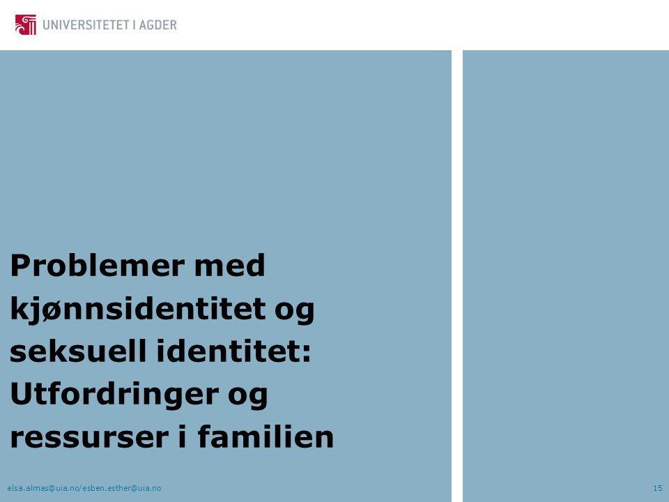 Problemer med kjønnsidentitet og seksuell identitet: Utfordringer og ressurser i familien