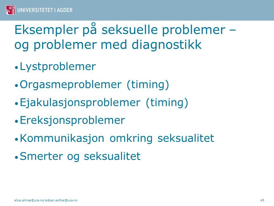 Eksempler på seksuelle problemer – og problemer med diagnostikk