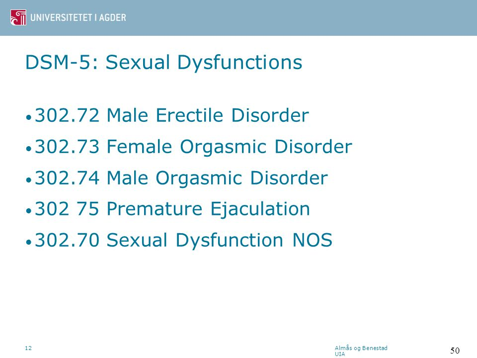 DSM-5: Sexual Dysfunctions