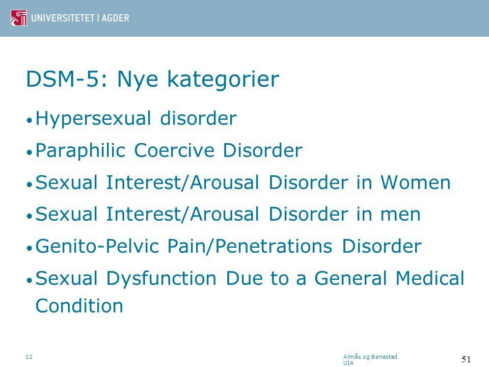 DSM-5: Nye kategorier Hypersexual disorder