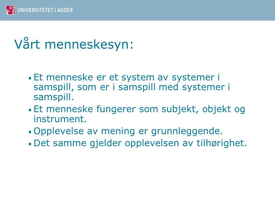 Vårt menneskesyn: Et menneske er et system av systemer i samspill, som er i samspill med systemer i samspill.