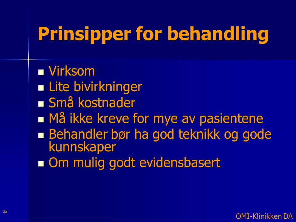 Prinsipper for behandling
