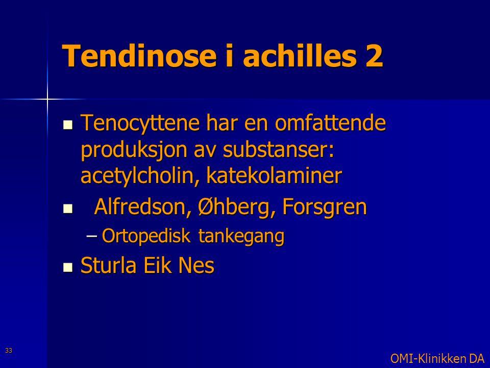 Tendinose i achilles 2 Tenocyttene har en omfattende produksjon av substanser: acetylcholin, katekolaminer.