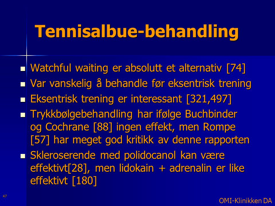 Tennisalbue-behandling