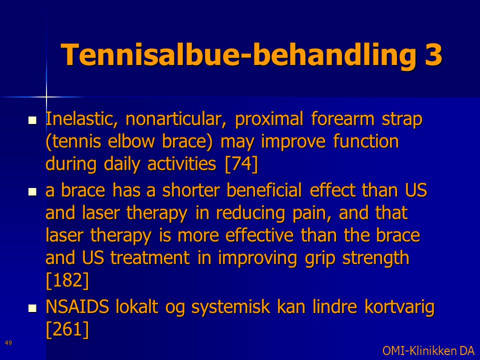 Tennisalbue-behandling 3