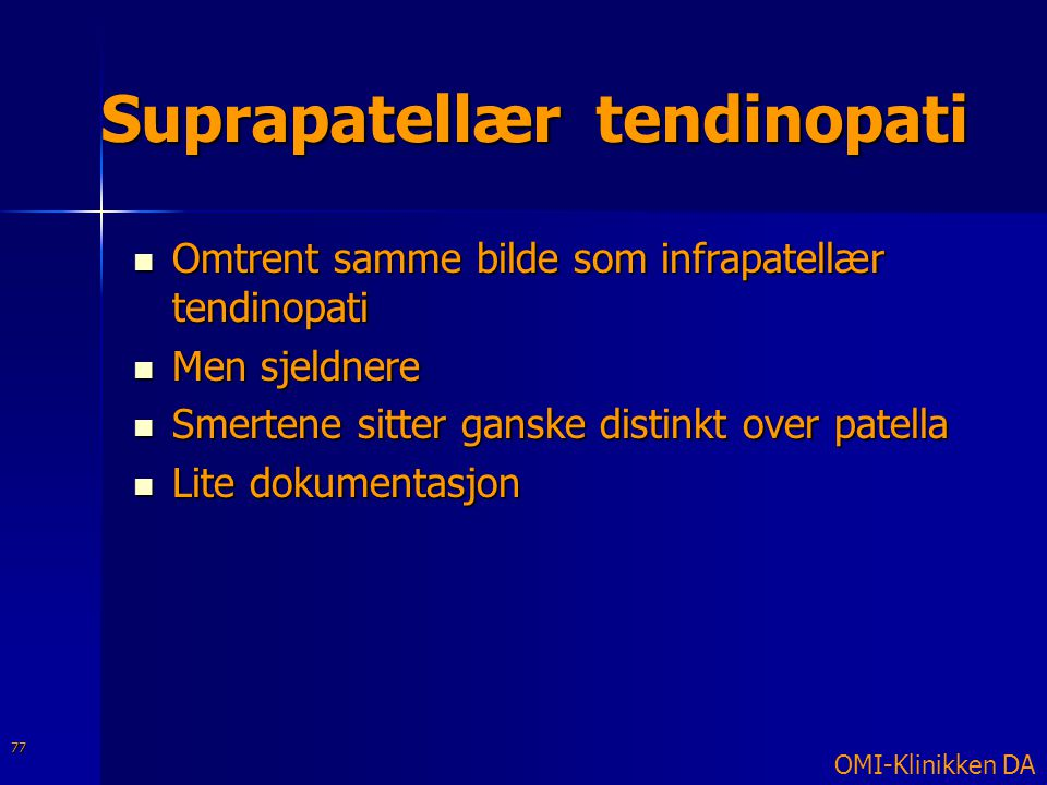 Suprapatellær tendinopati