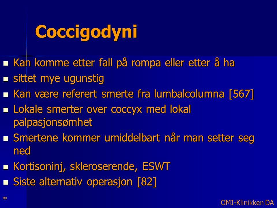 Coccigodyni Kan komme etter fall på rompa eller etter å ha