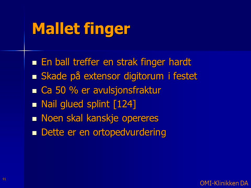 Mallet finger En ball treffer en strak finger hardt
