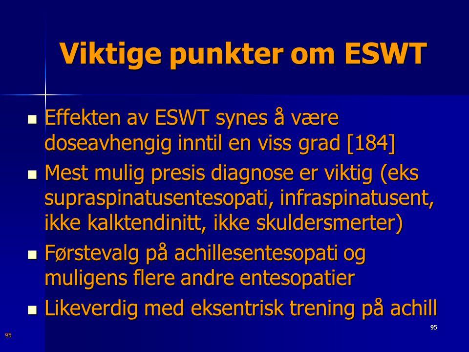 Viktige punkter om ESWT