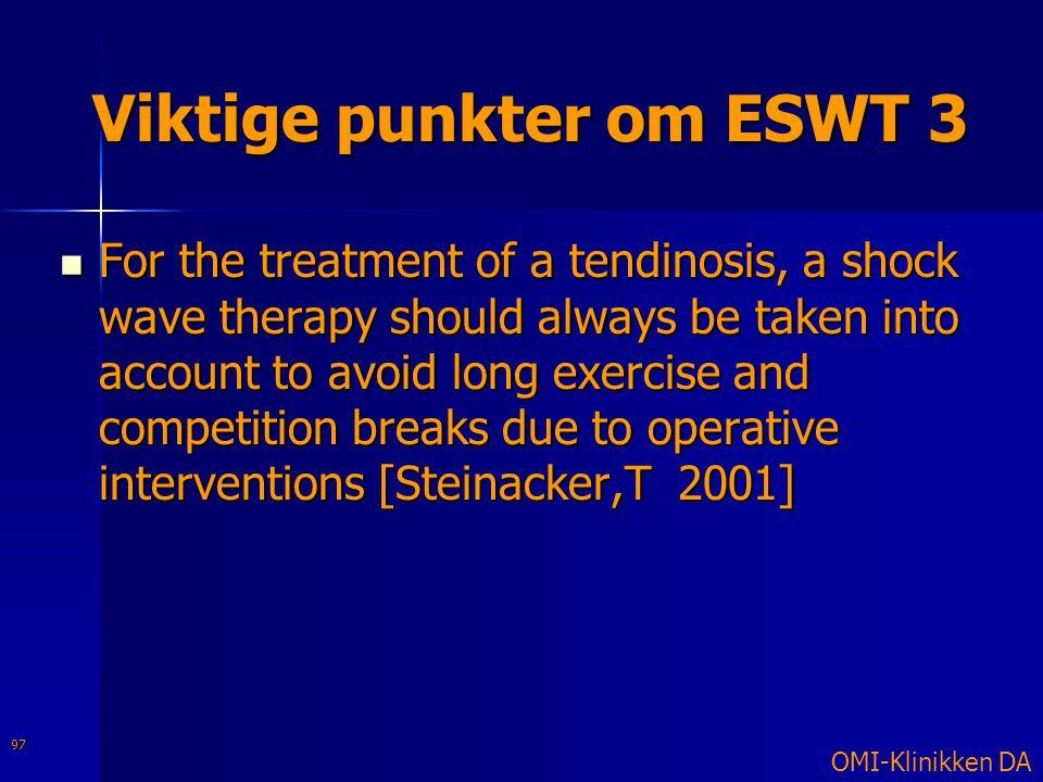 Viktige punkter om ESWT 3