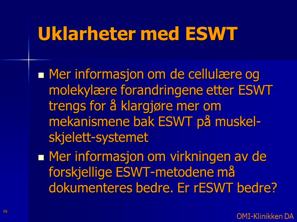 Uklarheter med ESWT